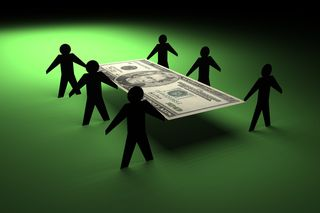 Six Shadows Carrying Dollar Bill