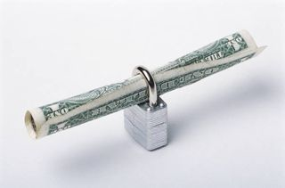 Padlock with Dollar Bill