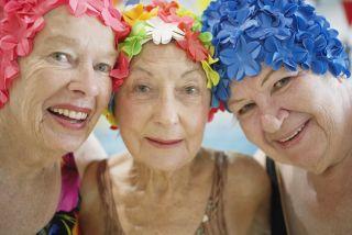 3 Old Ladies with Swim Hats