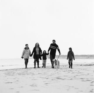 Family Walking on Beach BW